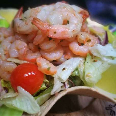Caribbean shrimp salad in edible taco plate