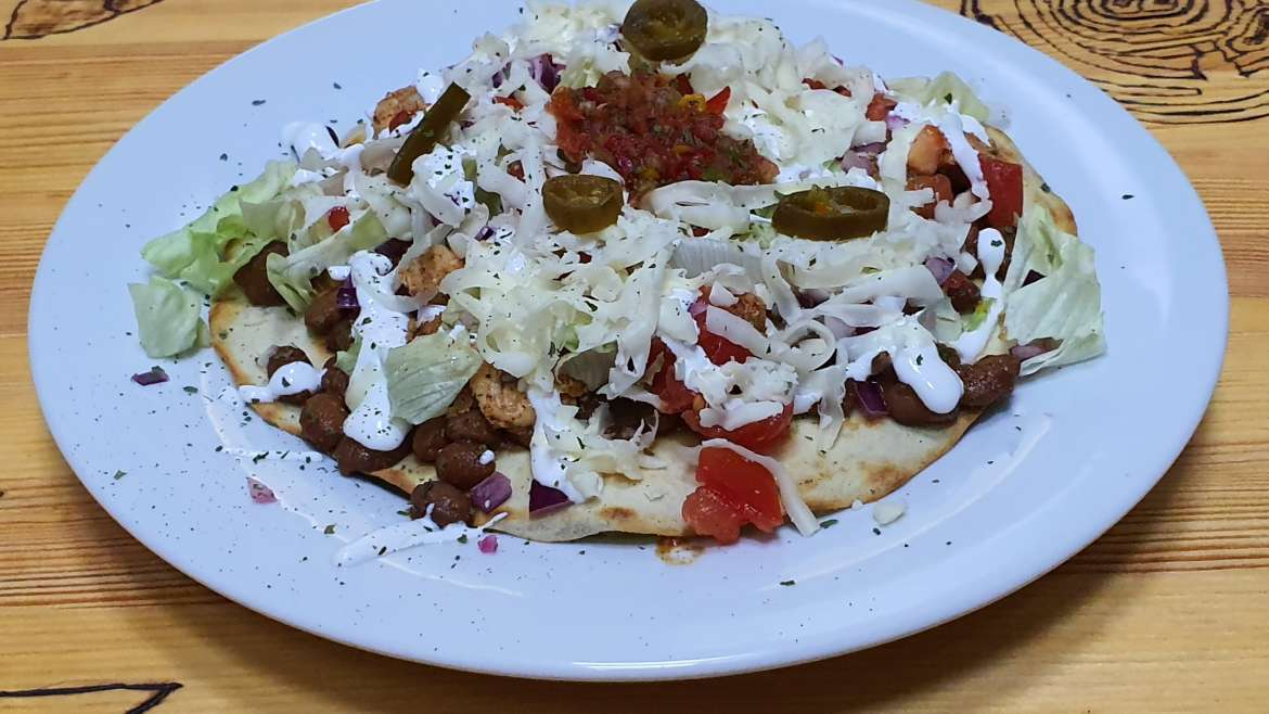 Mexican flying saucer (chicken or beef or bean)