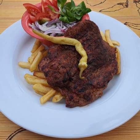 Huge slab of pork + salad + french fries (choose from below)